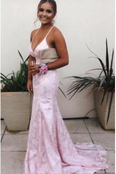 Mermaid Backless Lace V-Neck Long Prom Dress Formal Evening Dresses 601559