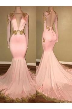 Mermaid Deep V-Neck Long Sleeves Long Prom Dress Formal Evening Dresses 601560