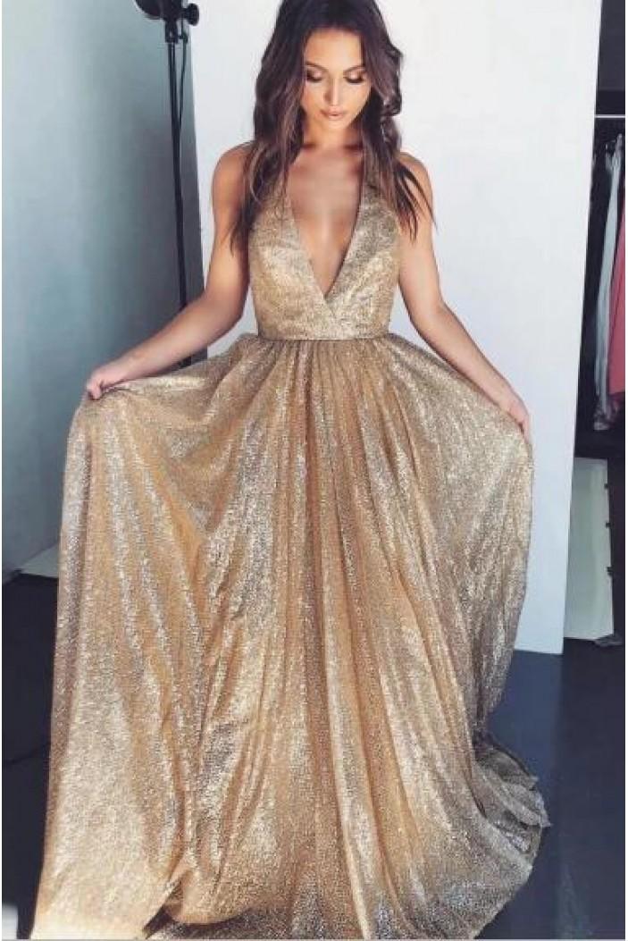 A-Line V-Neck Sparkle Long Prom Dress Formal Evening Dresses 601561