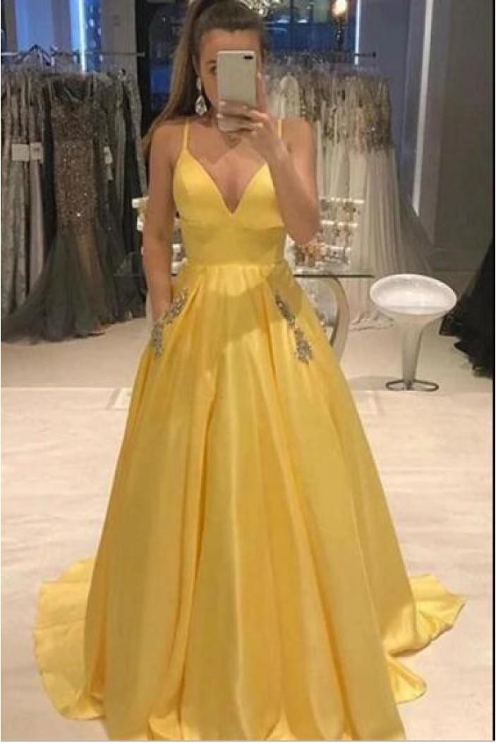 A-Line V-Neck Beaded Long Prom Dress Formal Evening Dresses 601562