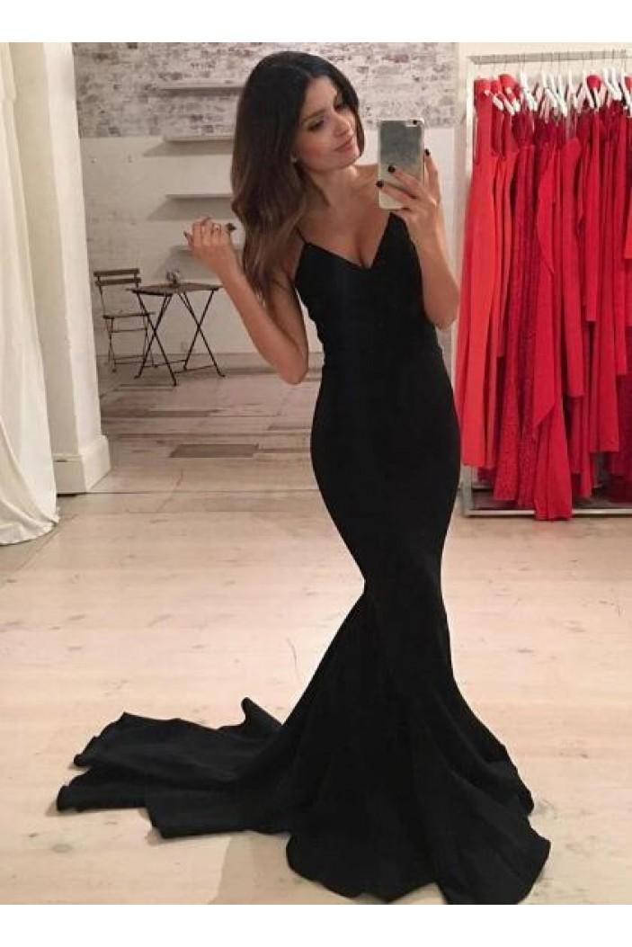 Long Black Mermaid V-Neck Long Prom Dress Formal Evening Dresses 601566