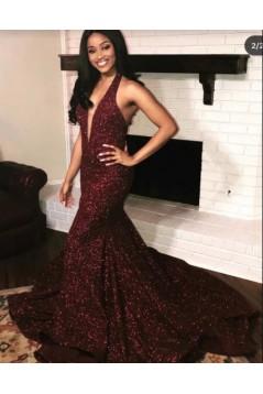 Mermaid V-Neck Sparkle Long Prom Dress Formal Evening Dresses 601567