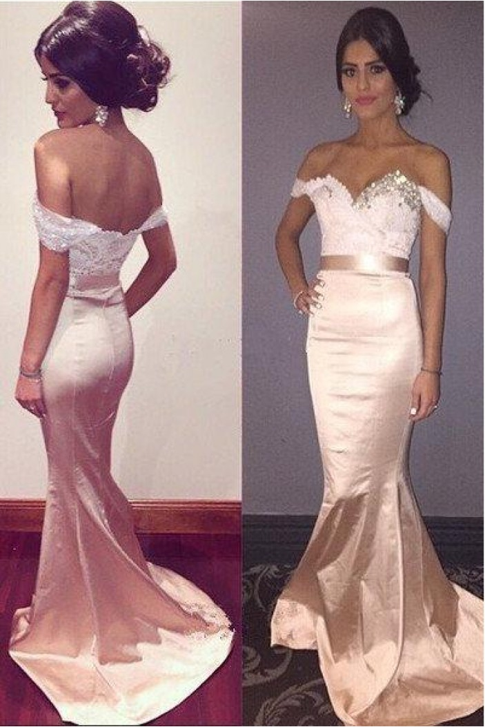 Mermaid Off-the-Shoulder Lace Long Prom Dress Formal Evening Dresses 601569