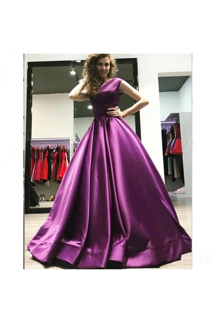 Elegant Satin Ball Gown Long Prom Dress Formal Evening Dresses 601573
