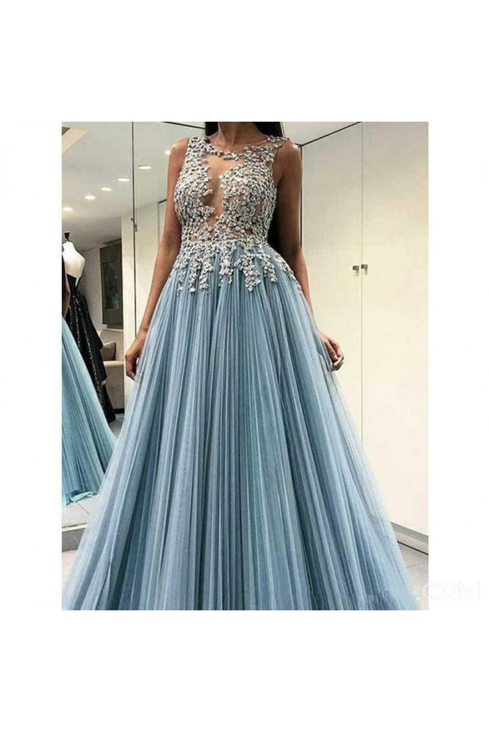 A-Line Lace Long Prom Dress Formal Evening Dresses 601575