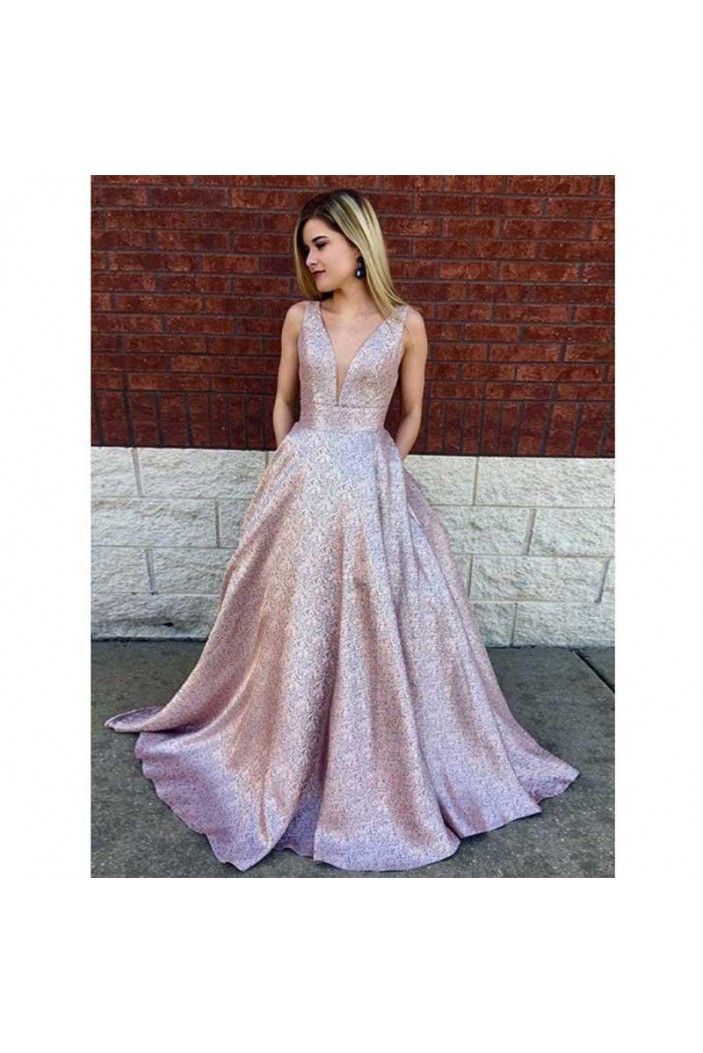 A-Line Sparkle V-Neck Long Prom Dress Formal Evening Dresses 601576