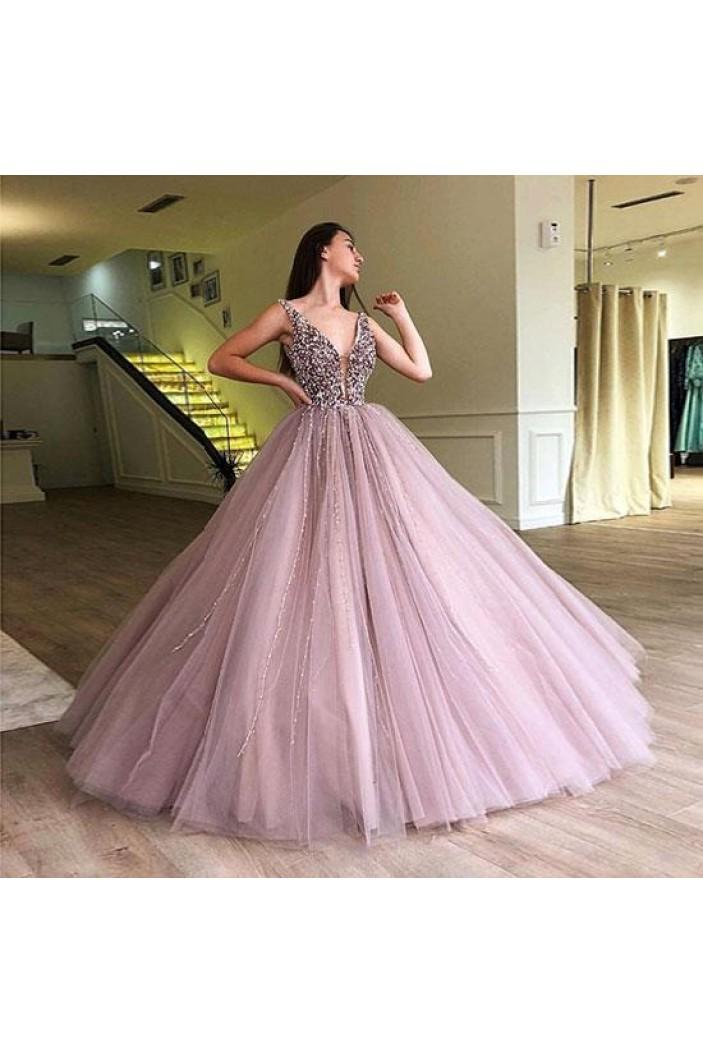 Ball Gown Beaded V-Neck Long Prom Dress Formal Evening Dresses 601577