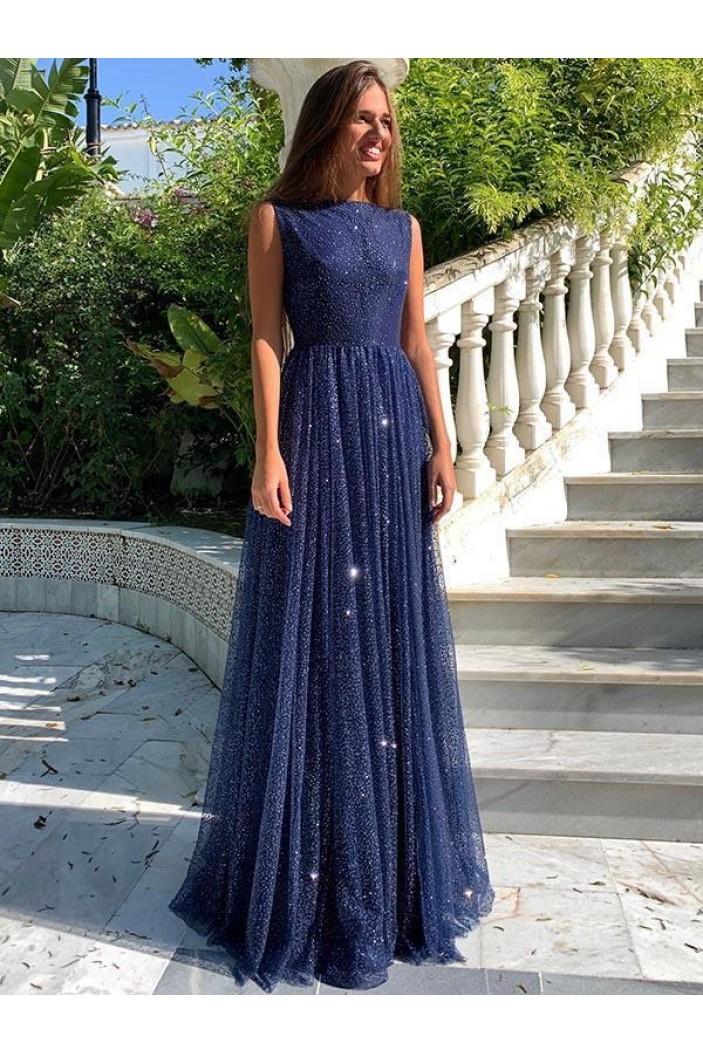 A-Line Sparkle Long Prom Dress Formal Evening Dresses 601580