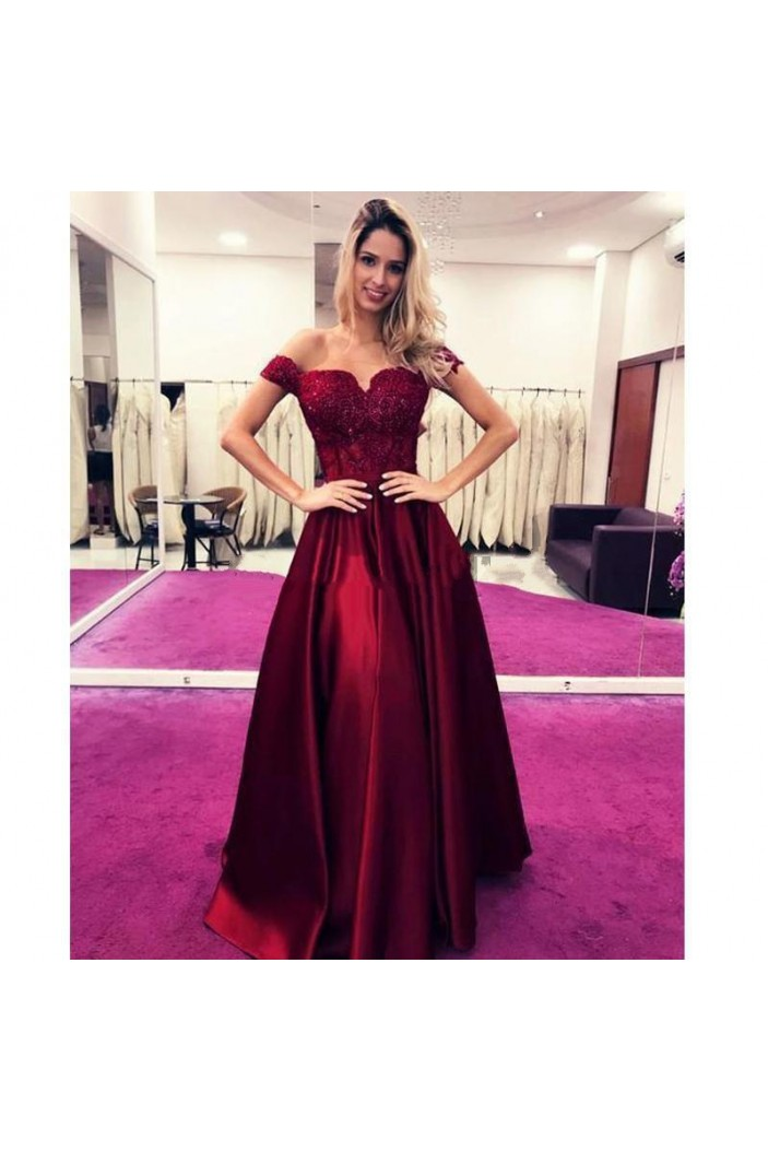 A-Line Off-the-Shoulder Lace Long Prom Dress Formal Evening Dresses 601583