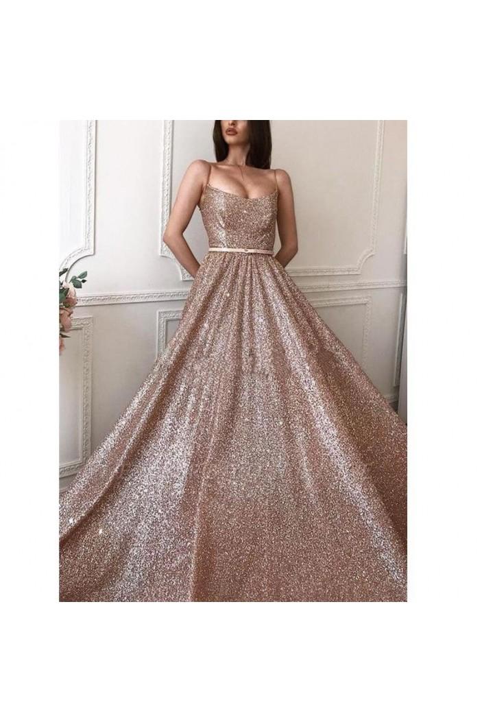 A-Line Sparkle Long Prom Dress Formal Evening Dresses 601586