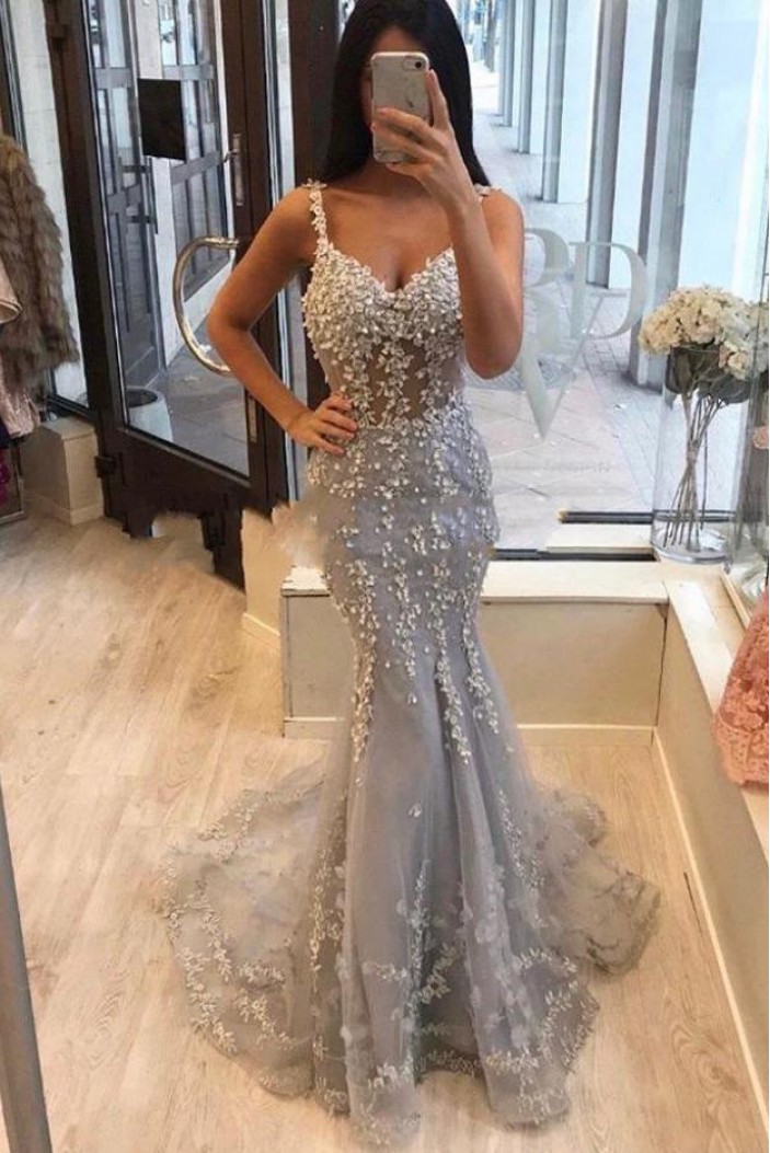 Mermaid Lace Long Prom Dress Formal Evening Dresses 601589