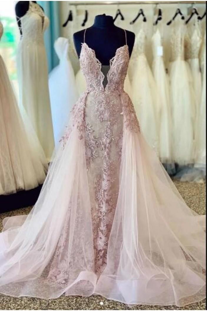 Elegant Lace Tulle Long Prom Dress Formal Evening Dresses 601595