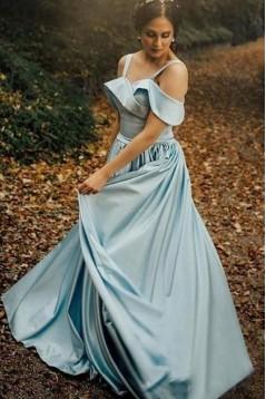 A-Line Satin Long Prom Dress Formal Evening Dresses 601598