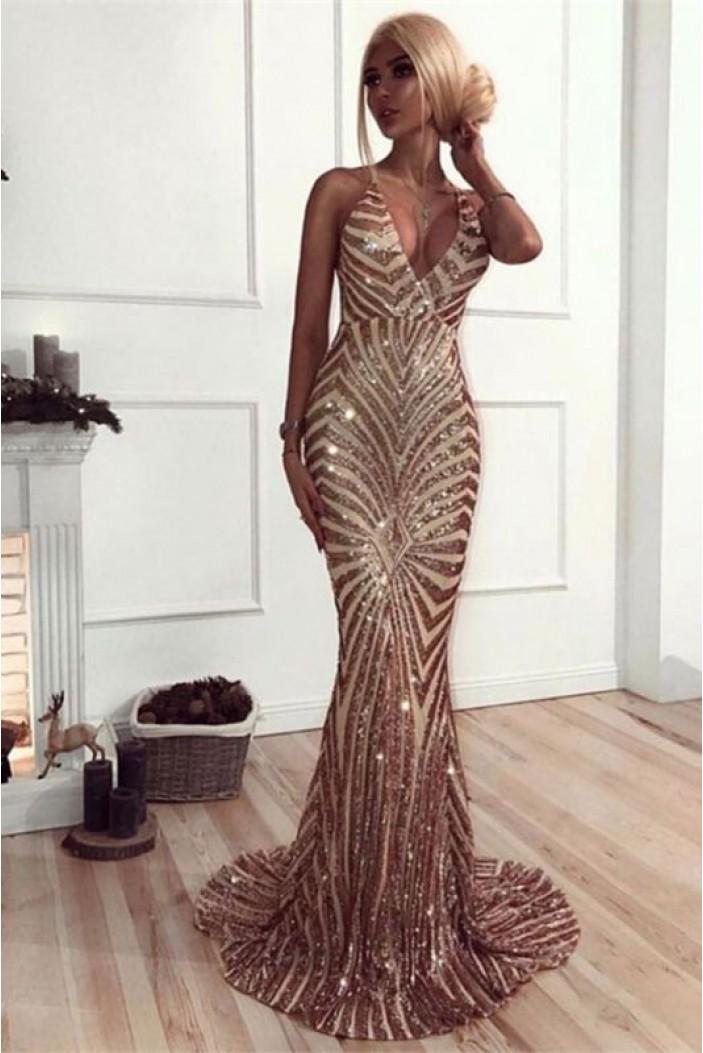 Mermaid Sparkle V-Neck Long Prom Dress Formal Evening Dresses 601599