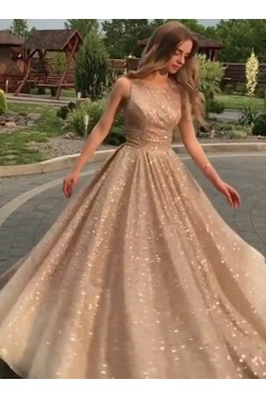 A-Line Sparkle Long Prom Dress Formal Evening Dresses 601600