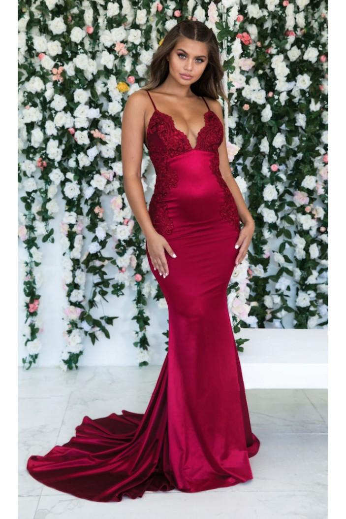 Mermaid Lace V-Neck Long Prom Dress Formal Evening Dresses 601604