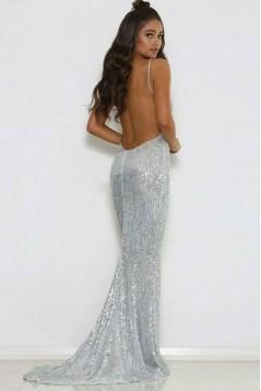 Mermaid Sparkle V-Neck Long Prom Dress Formal Evening Dresses 601606