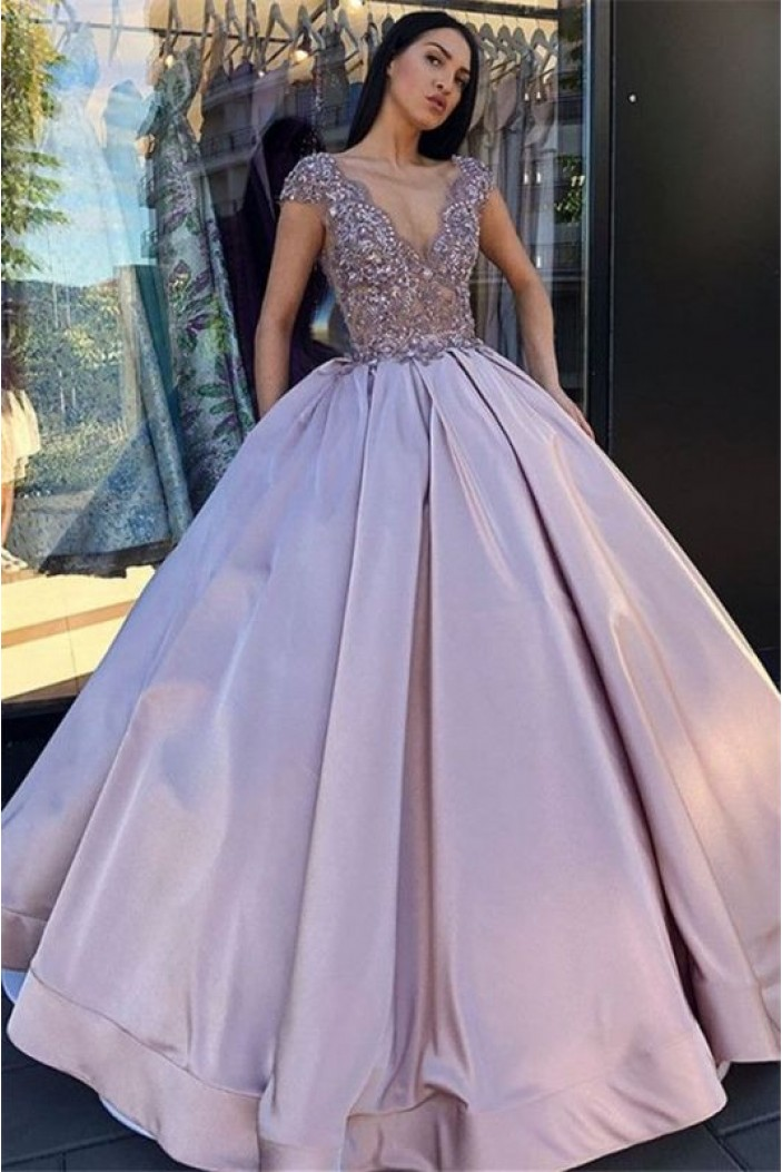 Ball Gown Bead Lace V-Neck Long Prom Dress Formal Evening Dresses 601608