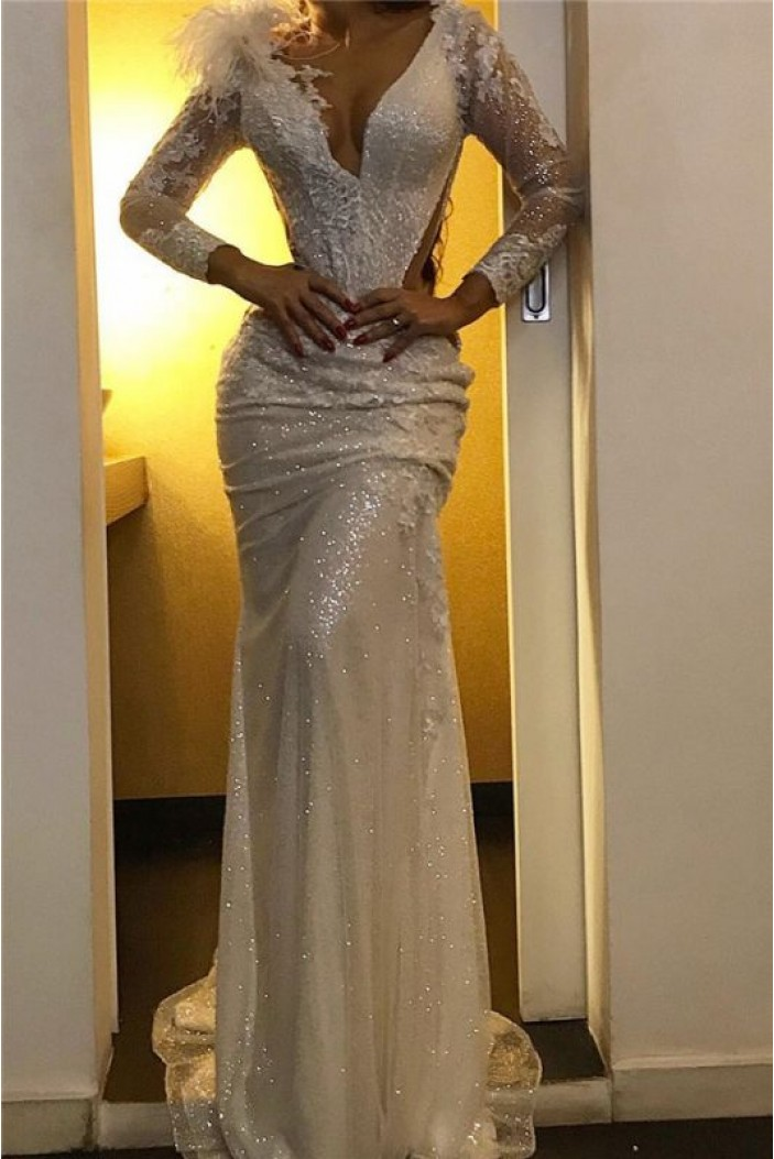 Mermaid Long Sleeves Sparkle Prom Dress Formal Evening Dresses 601612