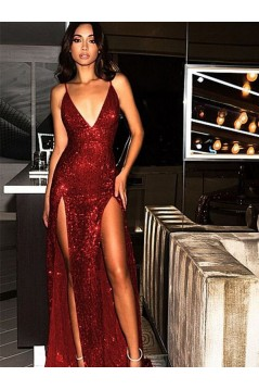 Sexy Sparkle V-Neck Long Prom Dress Formal Evening Dresses 601613