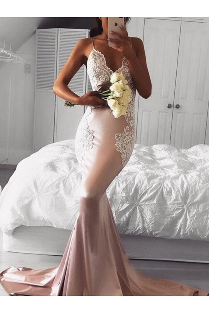 Mermaid Lace V-Neck Long Prom Dress Formal Evening Dresses 601615