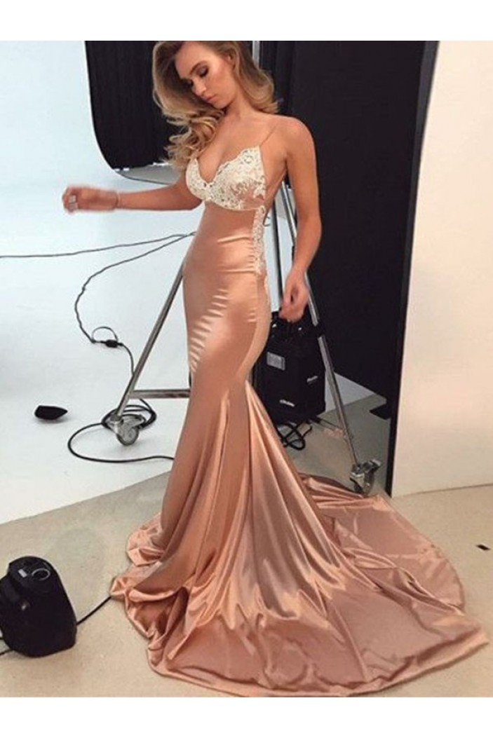 Mermaid Lace V-Neck Long Prom Dress Formal Evening Dresses 601616