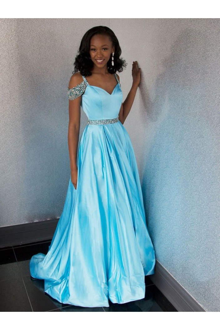 A-Line Beaded Long Prom Dress Formal Evening Dresses 601617