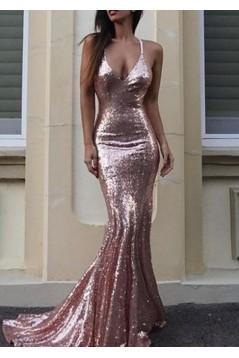 Mermaid Sparkle V-Neck Long Prom Dress Formal Evening Dresses 601618