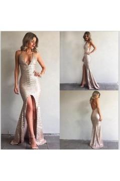Mermaid Sparkle V-Neck Long Prom Dress Formal Evening Dresses 601619