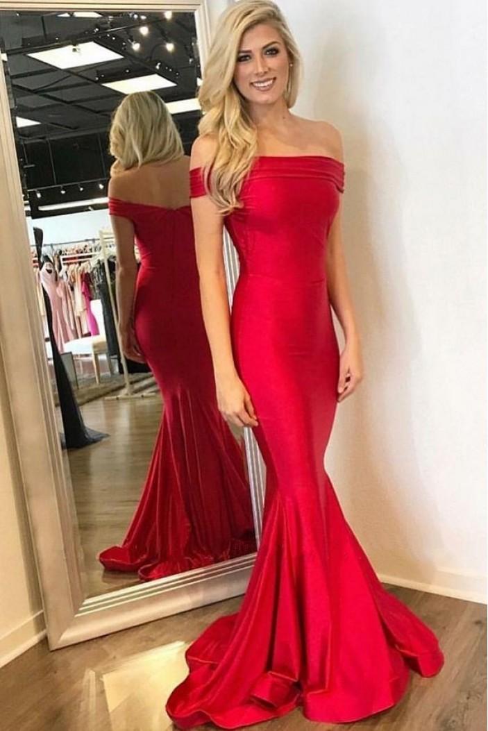 Mermaid Off-the-Shoulder Long Red Prom Dress Formal Evening Dresses 601629