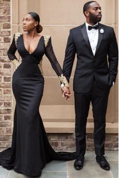 Mermaid Long Sleeves Lace V-Neck Long Black Prom Dress Formal Evening Dresses 601636