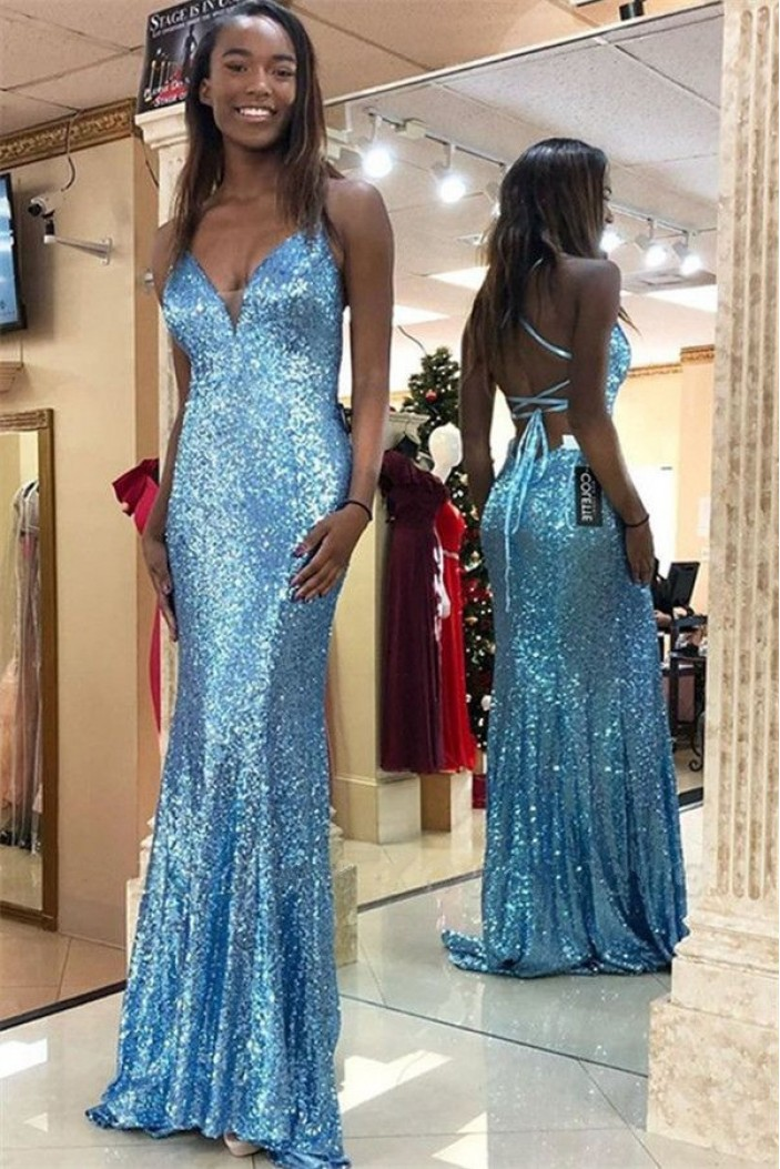 Mermaid Sequins V-Neck Long Prom Dress Formal Evening Dresses 601640