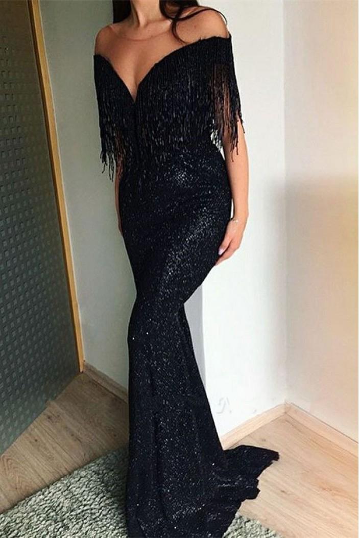 Mermaid Sequins V-Neck Long Black Prom Dress Formal Evening Dresses 601641