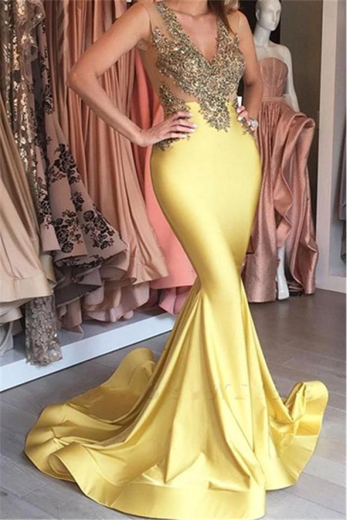 Mermaid V-Neck Long Prom Dress Formal Evening Dresses 601646