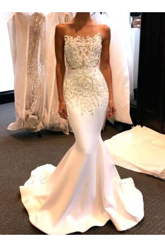 Mermaid Lace Long White Prom Dress Formal Evening Dresses 601647