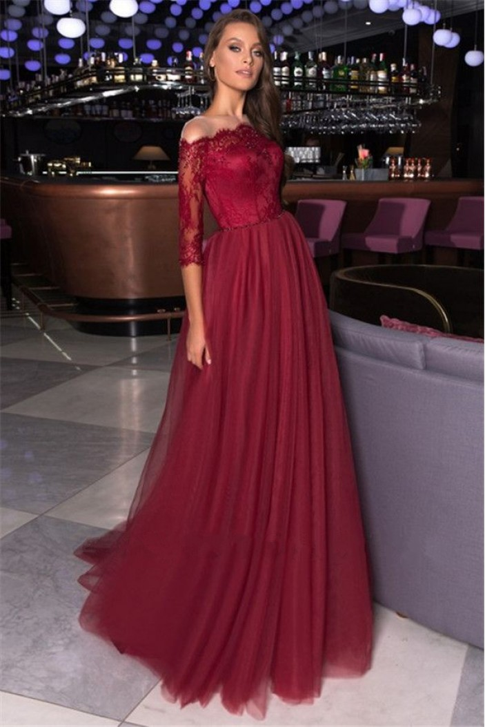 A-Line Lace and Tulle Long Prom Dress Formal Evening Dresses 601648