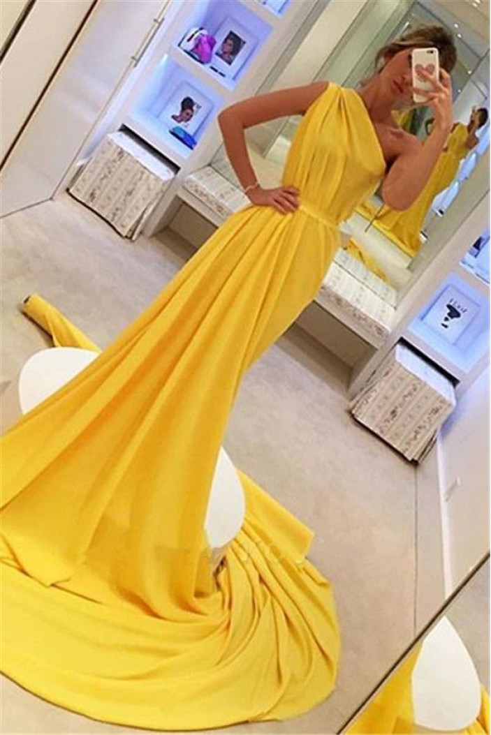 Sheath One-Shoulder Long Prom Dress Formal Evening Dresses 601650