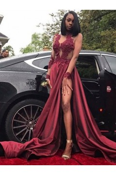 A-Line Lace Long Sleeves Long Prom Dress Formal Evening Dresses 601654
