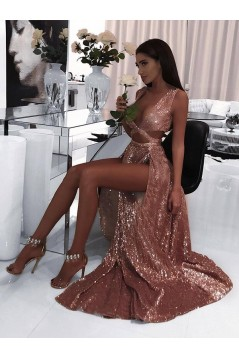 Sexy Sequins Long Black Prom Dress Formal Evening Dresses 601655