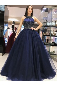 Ball Gown Beaded Long Navy Blue Prom Dress Formal Evening Dresses 601662