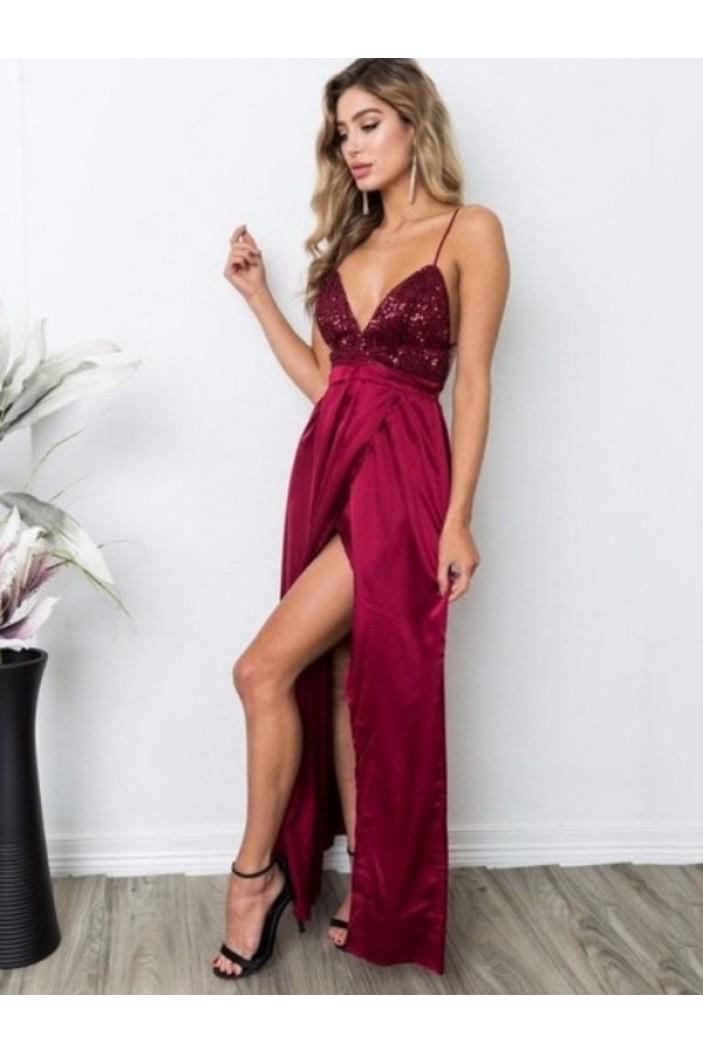 Simple V-Neck Long Prom Dress Formal Evening Dresses 601665