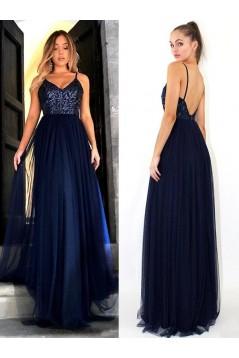 A-Line Sequins Tulle Long Prom Dress Formal Evening Dresses 601666