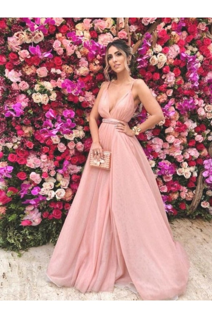 A-Line V-Neck Long Prom Dress Formal Evening Dresses 601671