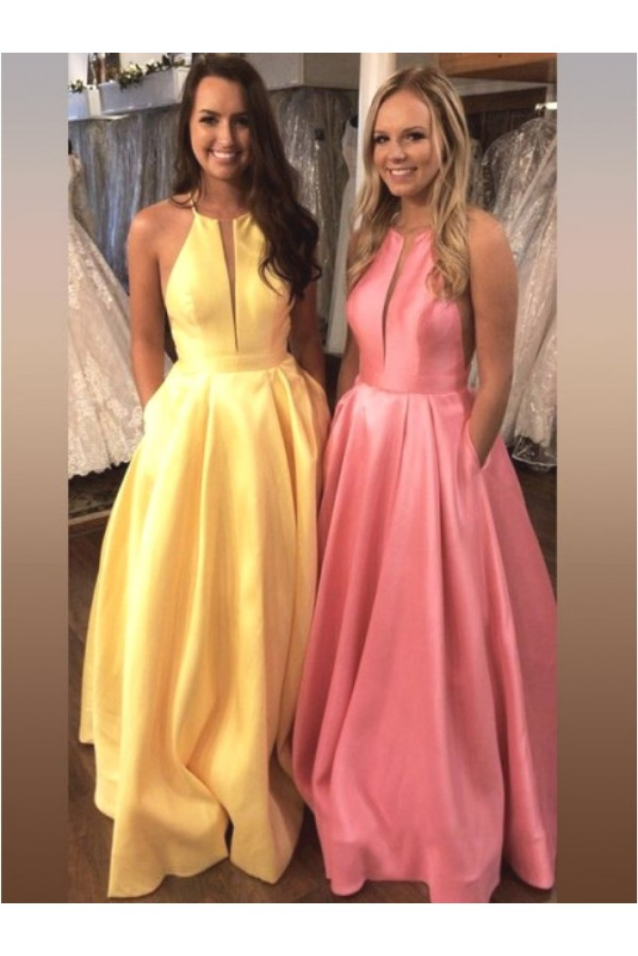 A-Line Satin Long Prom Dress Formal Evening Dresses 601674