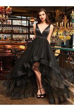 High Low Beaded V-Neck Black Prom Dress Formal Evening Dresses 601680