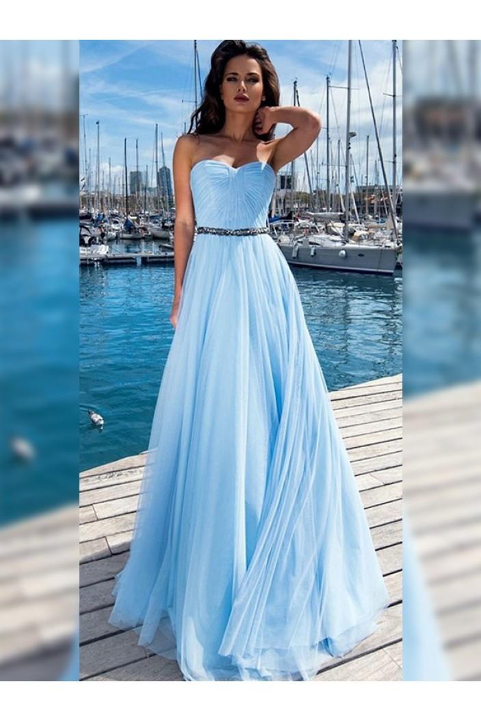 A-Line Beaded Long Prom Dress Formal Evening Dresses 601682