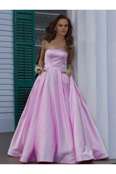 A-Line Strapless Satin Long Prom Dress Formal Evening Dresses 601684
