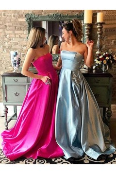 A-Line Beaded Satin Long Prom Dress Formal Evening Dresses 601685