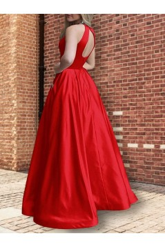 A-Line Beaded Satin Long Prom Dress Formal Evening Dresses 601686