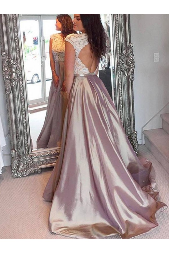 A-Line Lace Long Prom Dress Formal Evening Dresses 601689